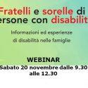 Webinar fratelli e sorelle di persone con disabilità